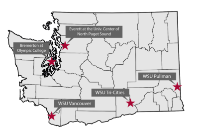 Map of the state of Washington with stars showing the location of each WSU campus.