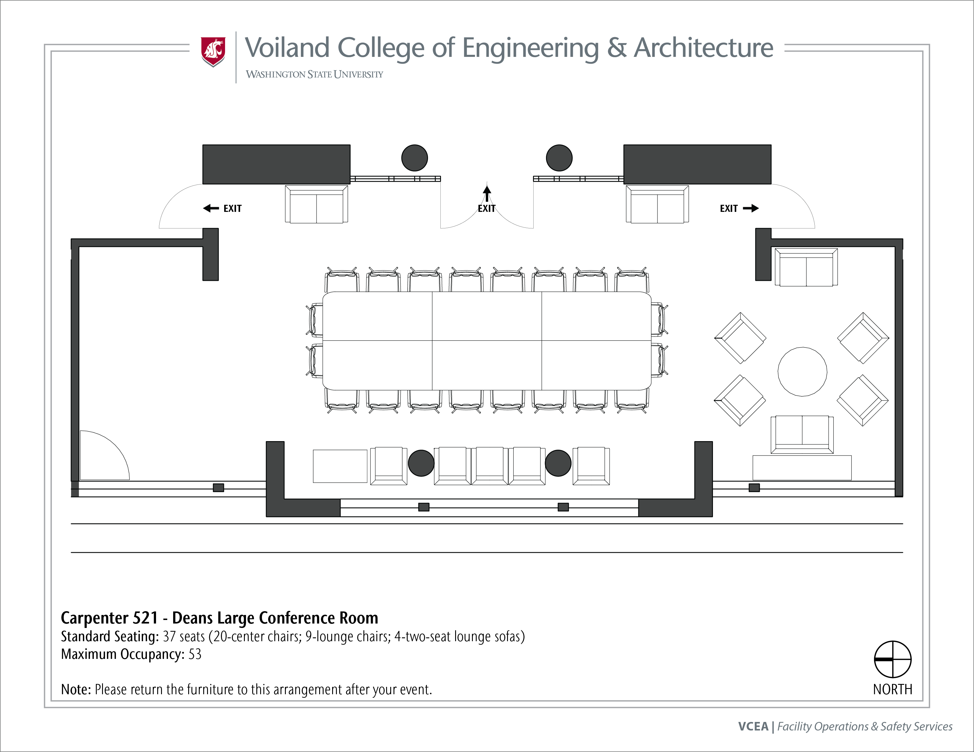 Layout of Carpenter 521, Dean's Large Conference Room, at WSU Pullman