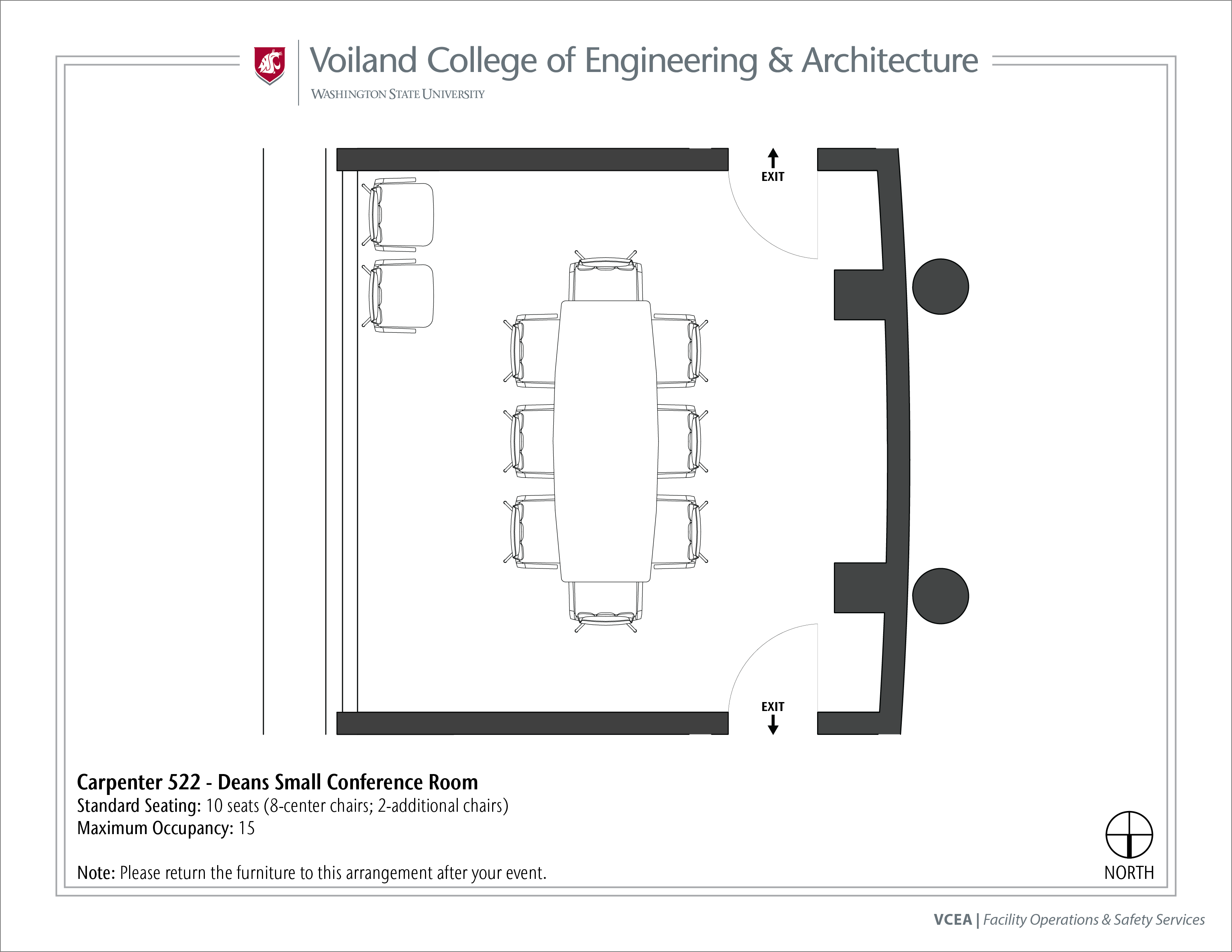 Layout of Carpenter 522, Dean's Small Conference Room, at WSU Pullman