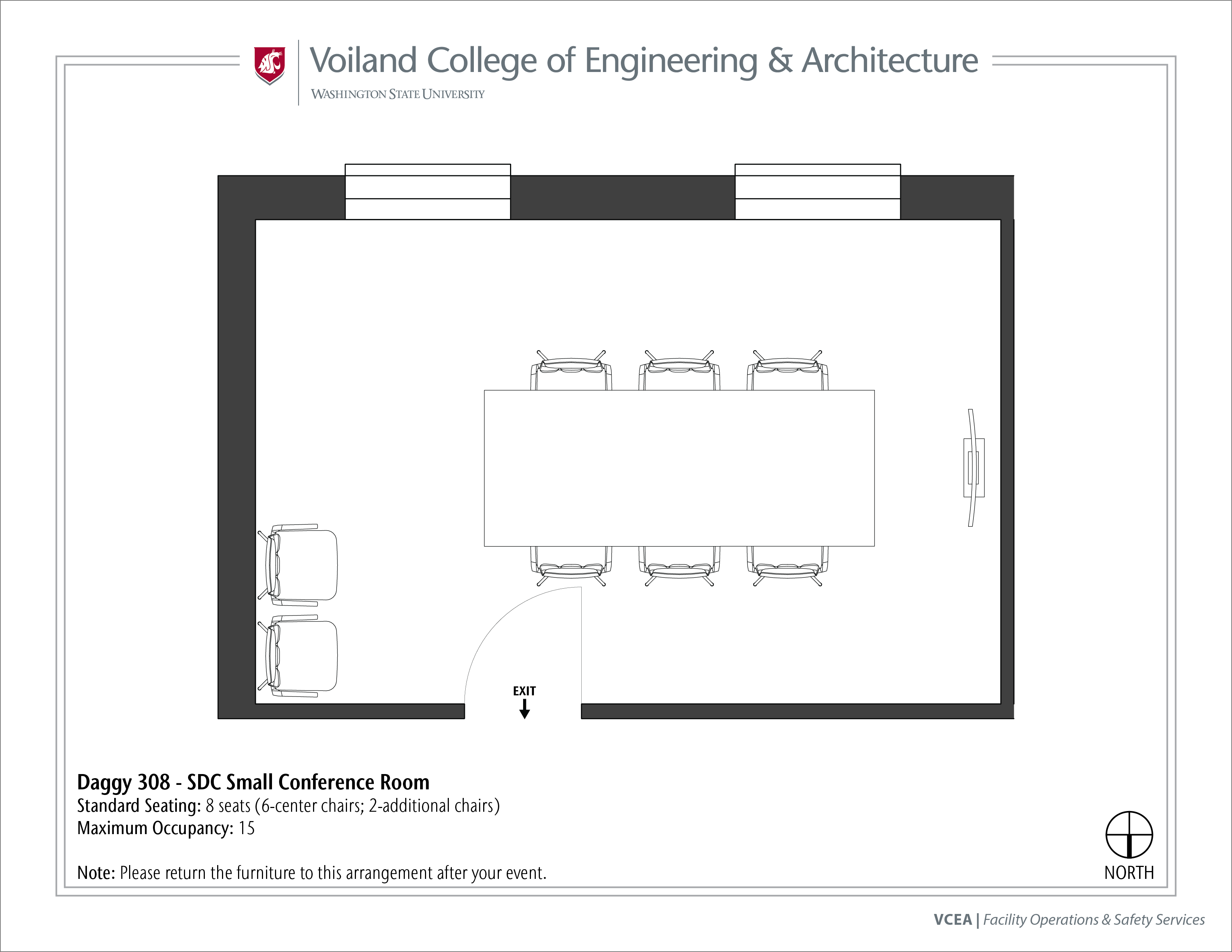 Layout of Daggy 308, SDC Small Conference Room, at WSU Pullman