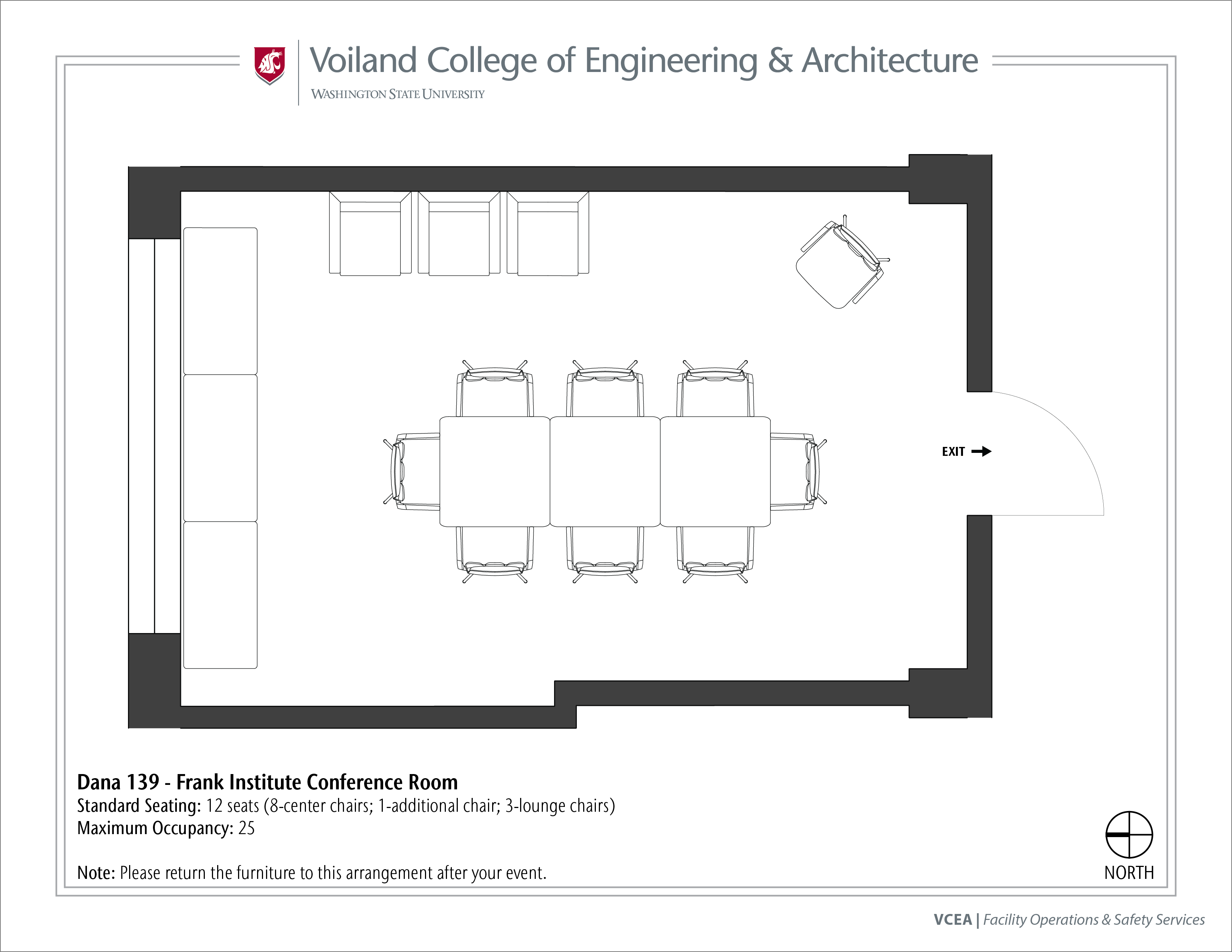 Layout of Dana 139, Frank Institute Conference Room, at WSU Pullman