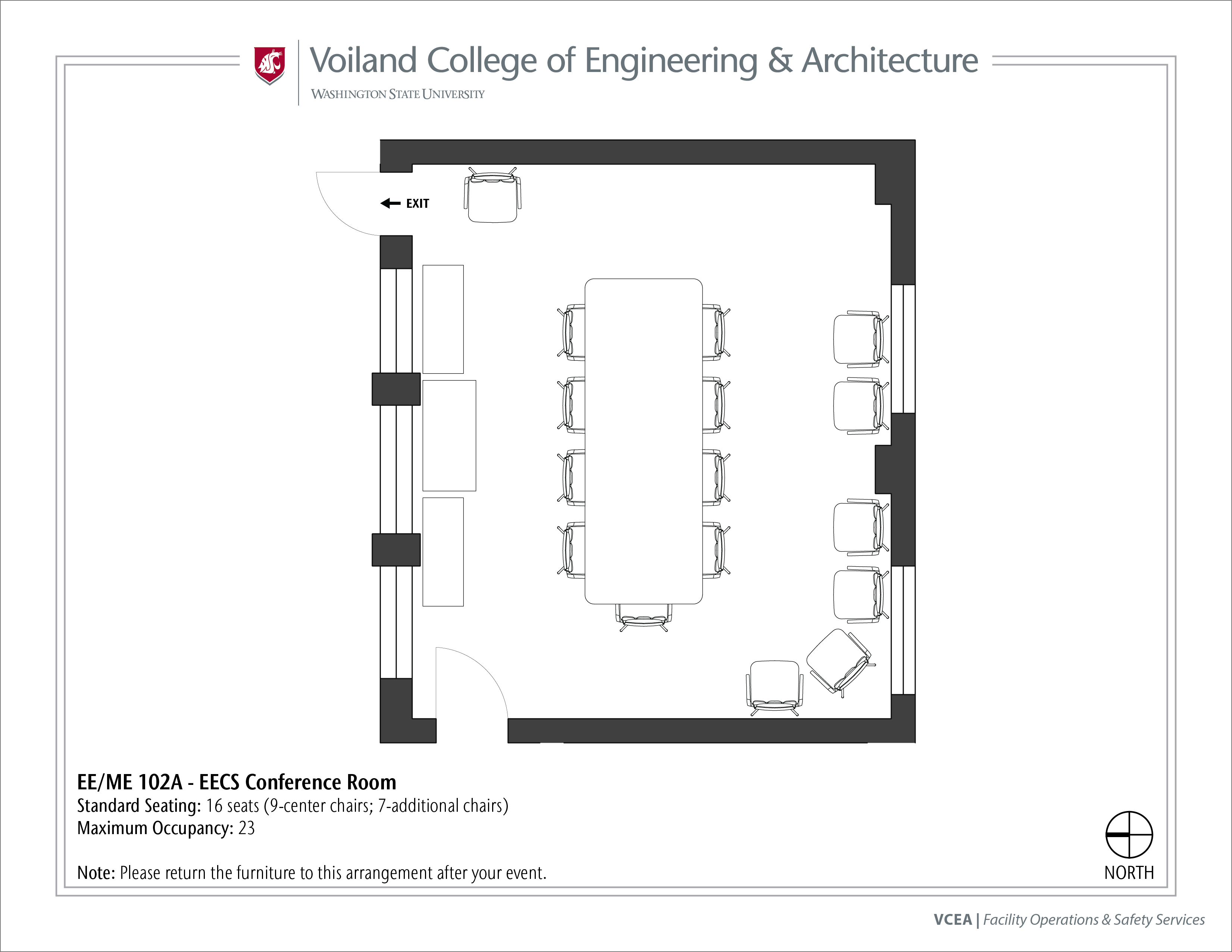 Layout of EE/ME 102A, EECS Conference Room, at WSU Pullman