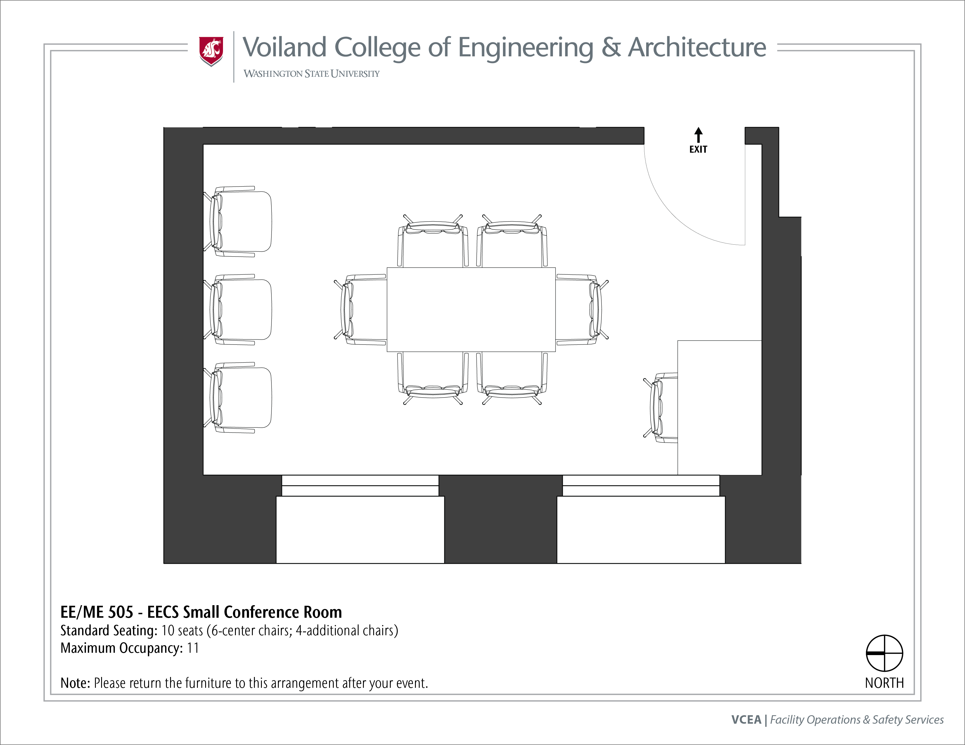 Layout of EE/ME 505, EECS Small Conference Room, at WSU Pullman
