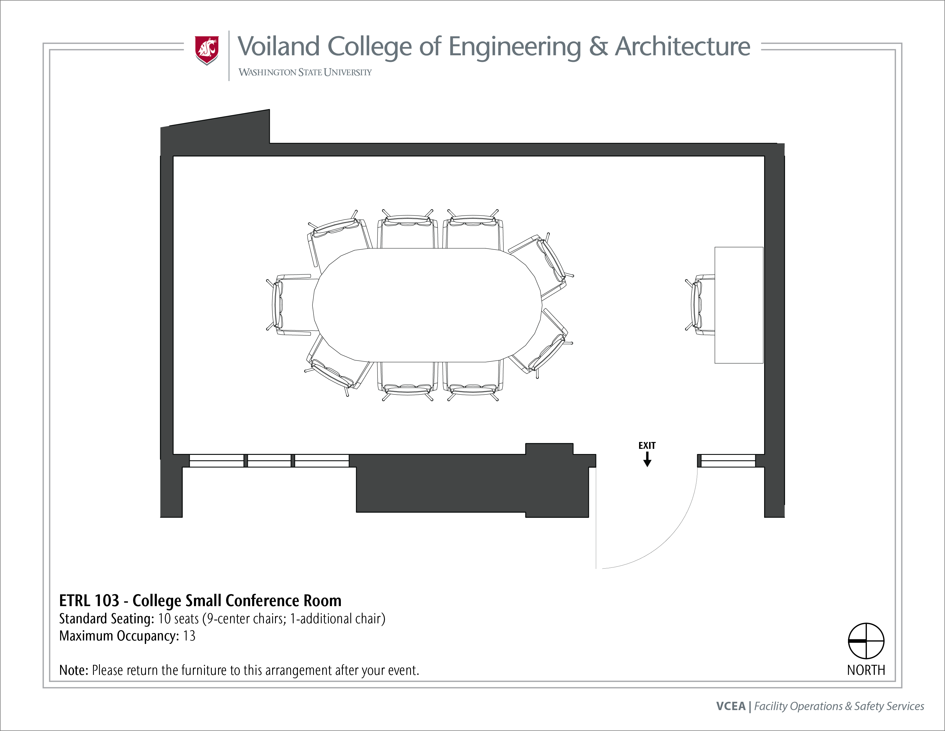 Layout of ETRL 103, College Small Conference Room, at WSU Pullman