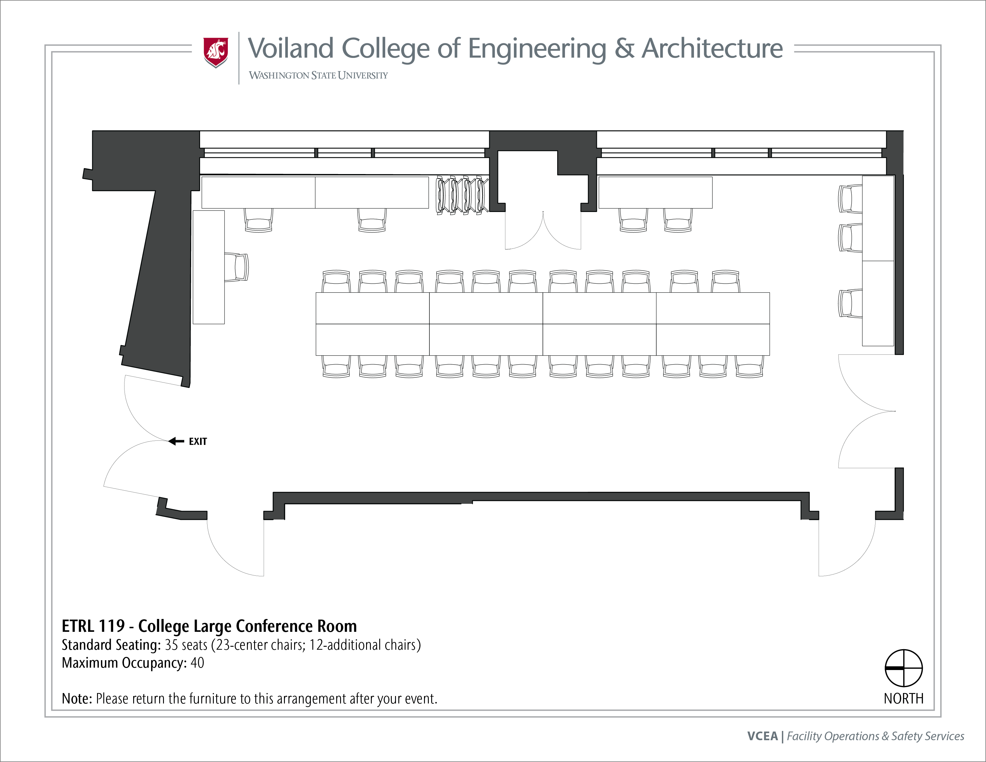 Layout of ETRL 119, College Large Conference Room, at WSU Pullman