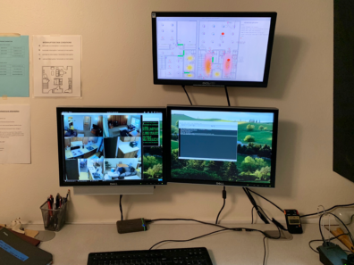 Research monitors being used to gather data and information for user space in the Smart Homes Lab.