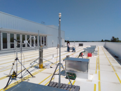 Tracer dispersion instrument on the Paccar Environmental Technology Building Roof.