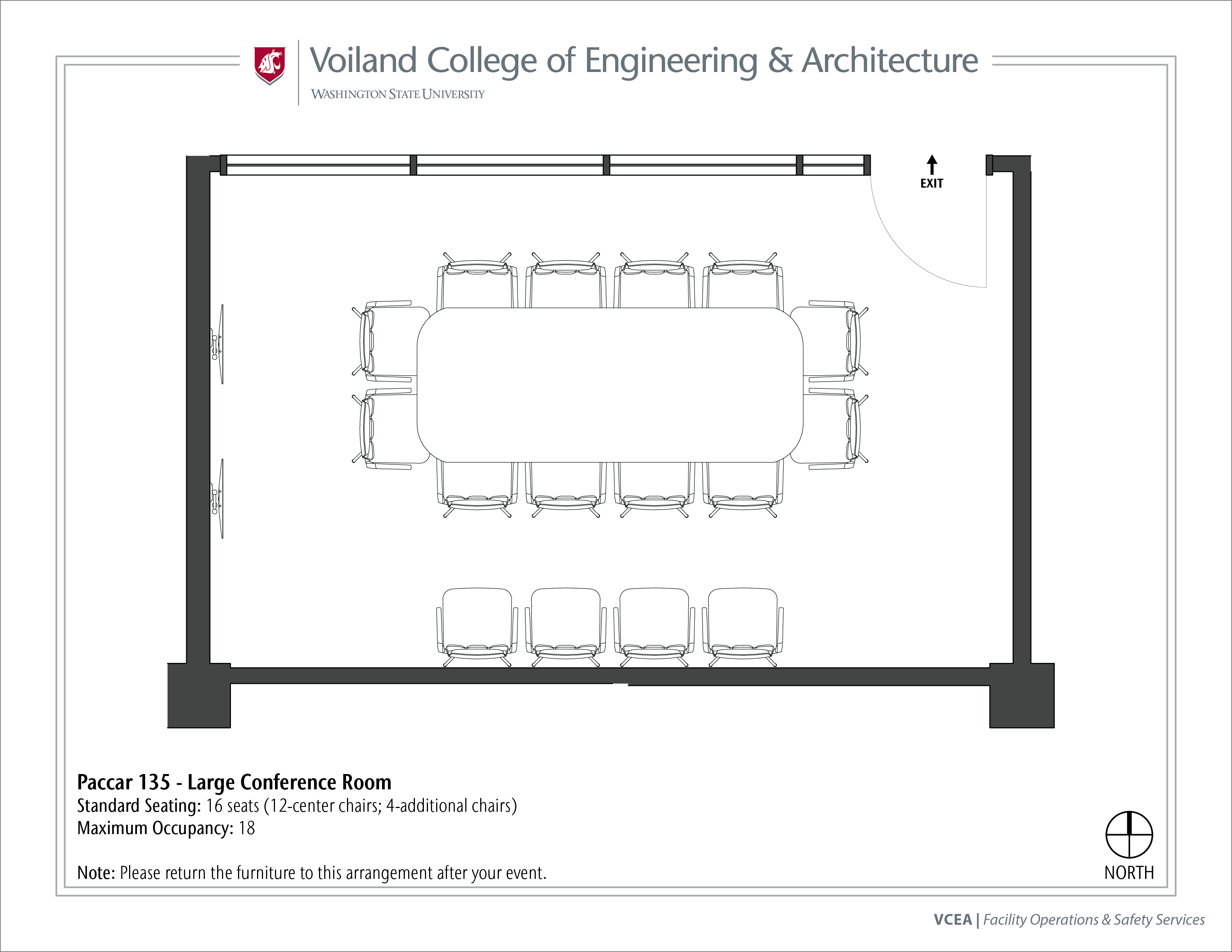 Layout of Paccar 135, Large Conference Room, at WSU Pullman