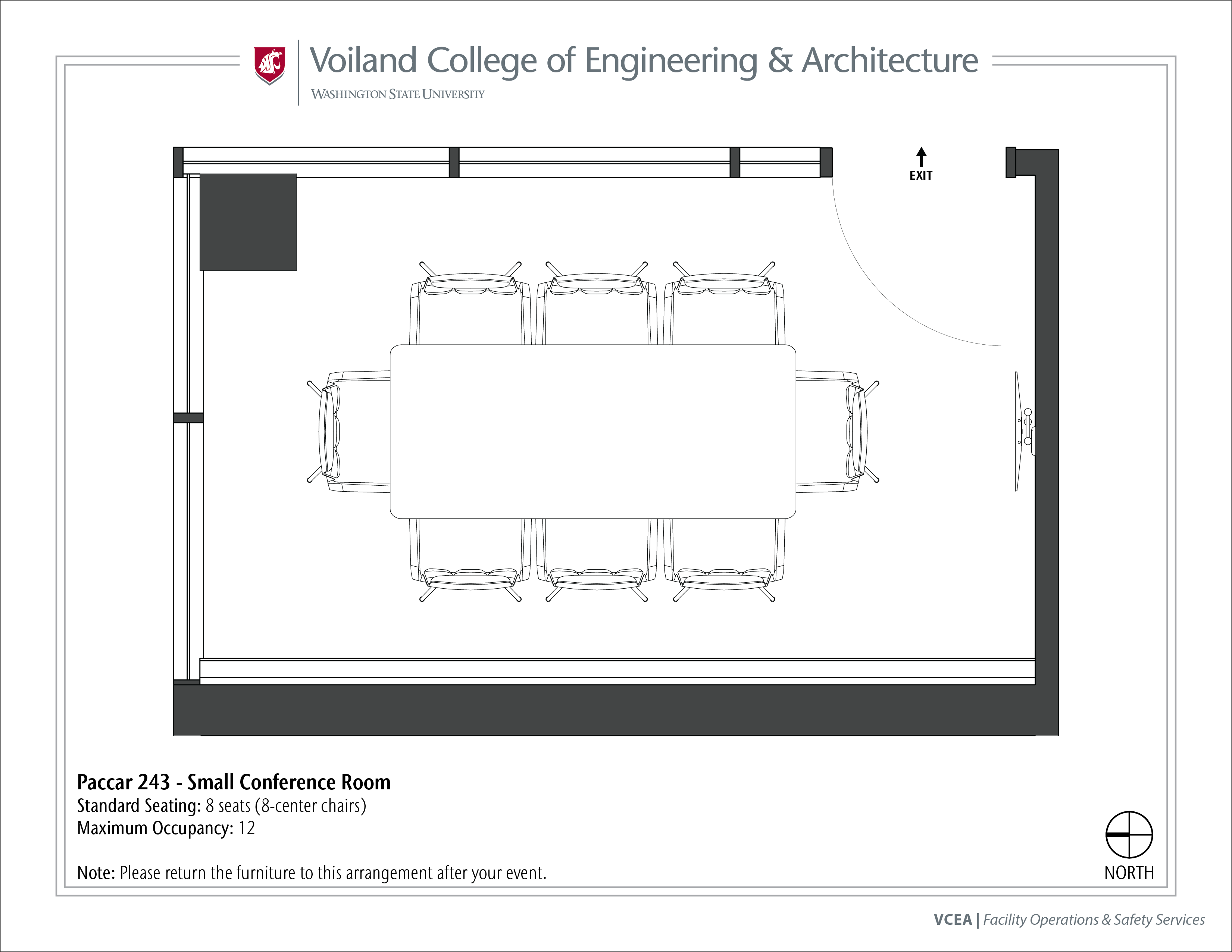 Layout of Paccar 243, Small Conference Room, at WSU Pullman