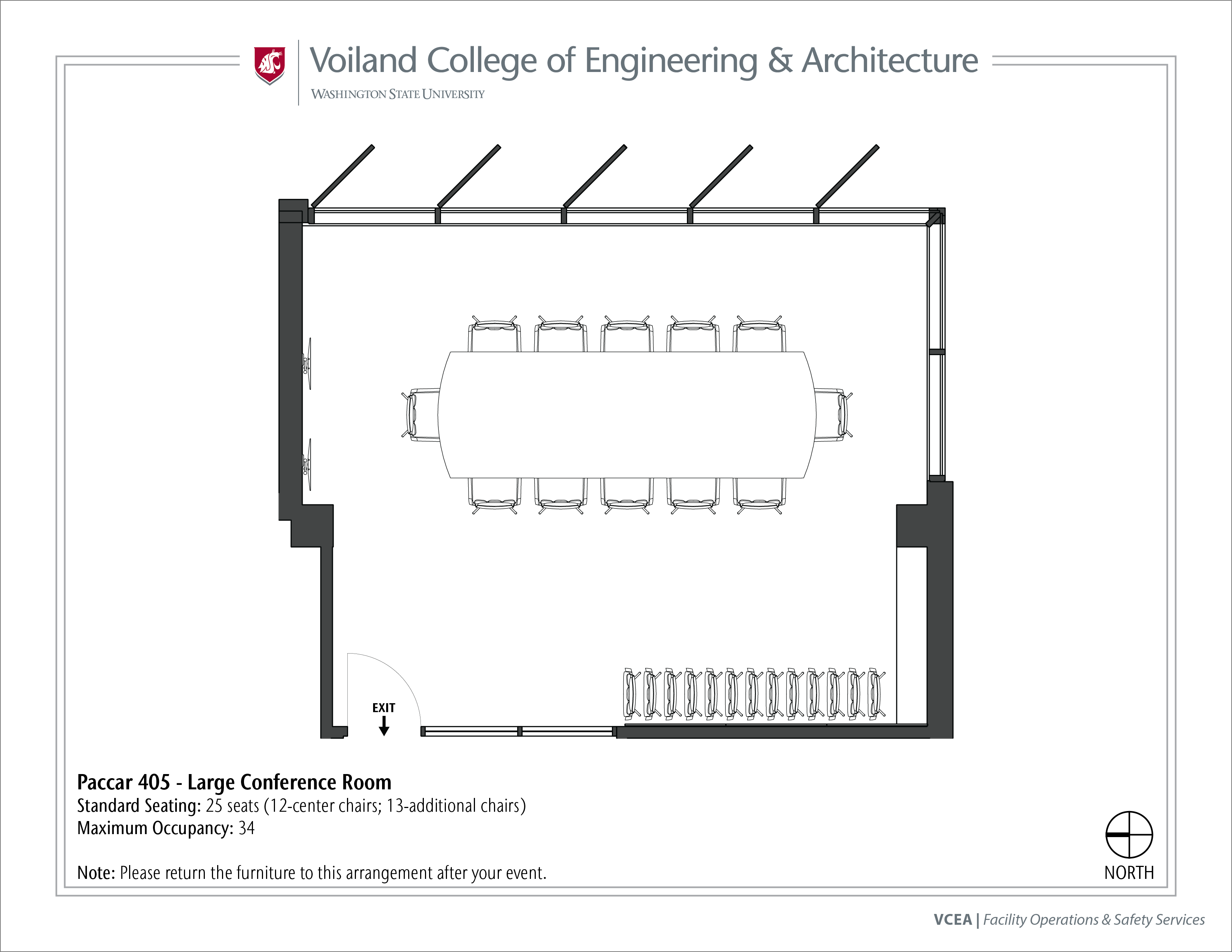 Layout of Paccar 405, Large Conference Room, at WSU Pullman