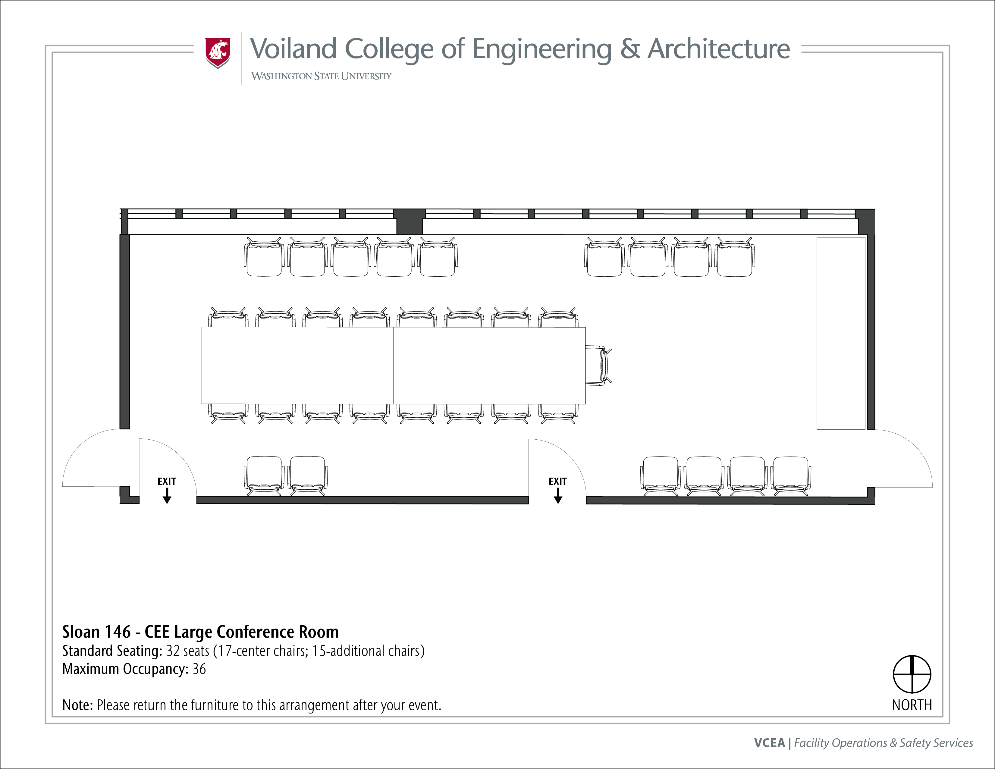 Layout of Sloan 146, CEE Large Conference Room, at WSU Pullman