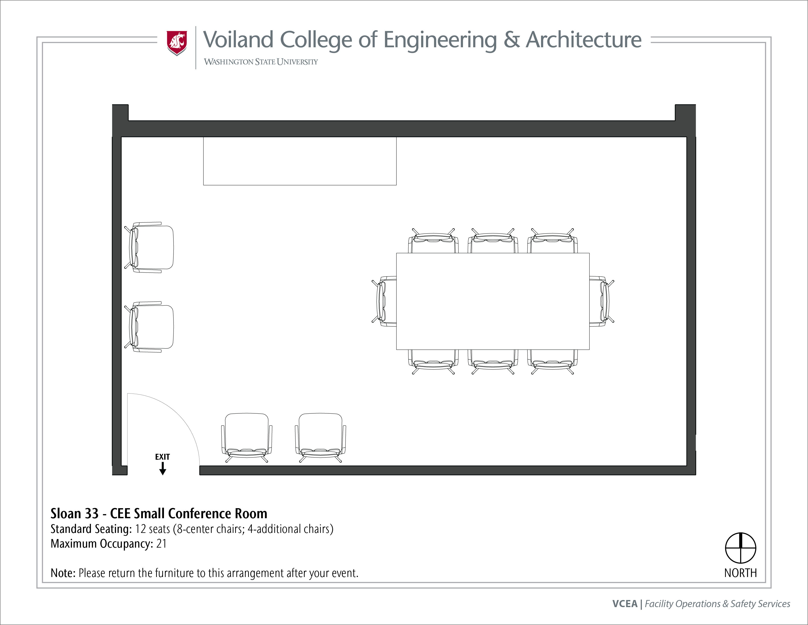 Layout of Sloan 33, CEE Small Conference Room, at WSU Pullman