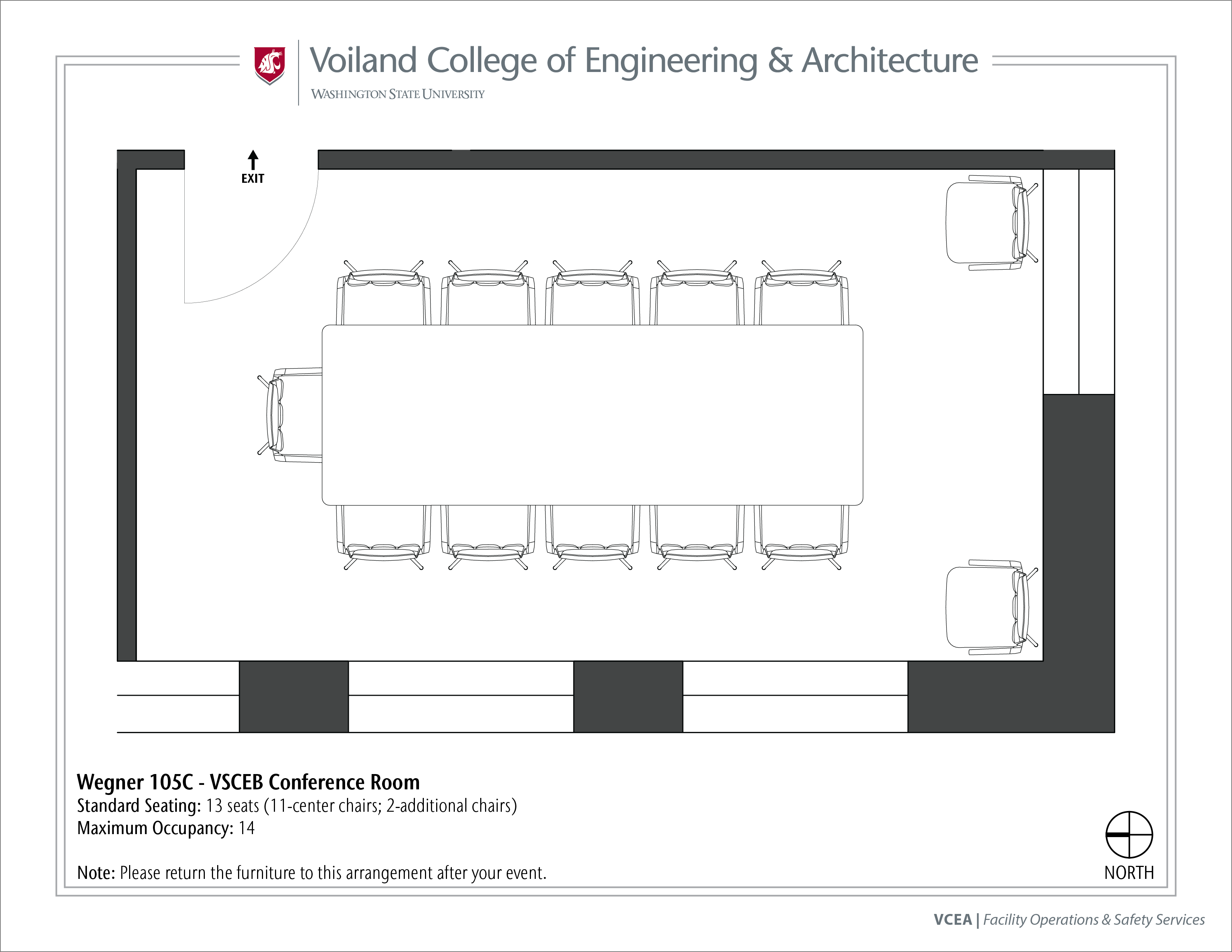 Layout of Wegner 105C, VSCEB Conference Room, at WSU Pullman