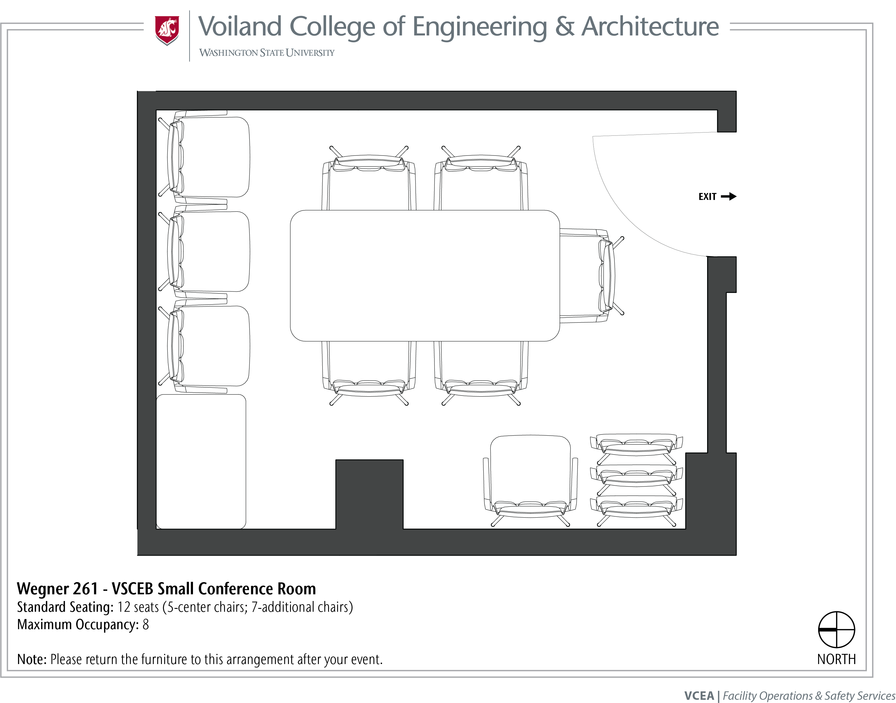 Layout of Wegner 261, VSCEB Small Conference Room, at WSU Pullman