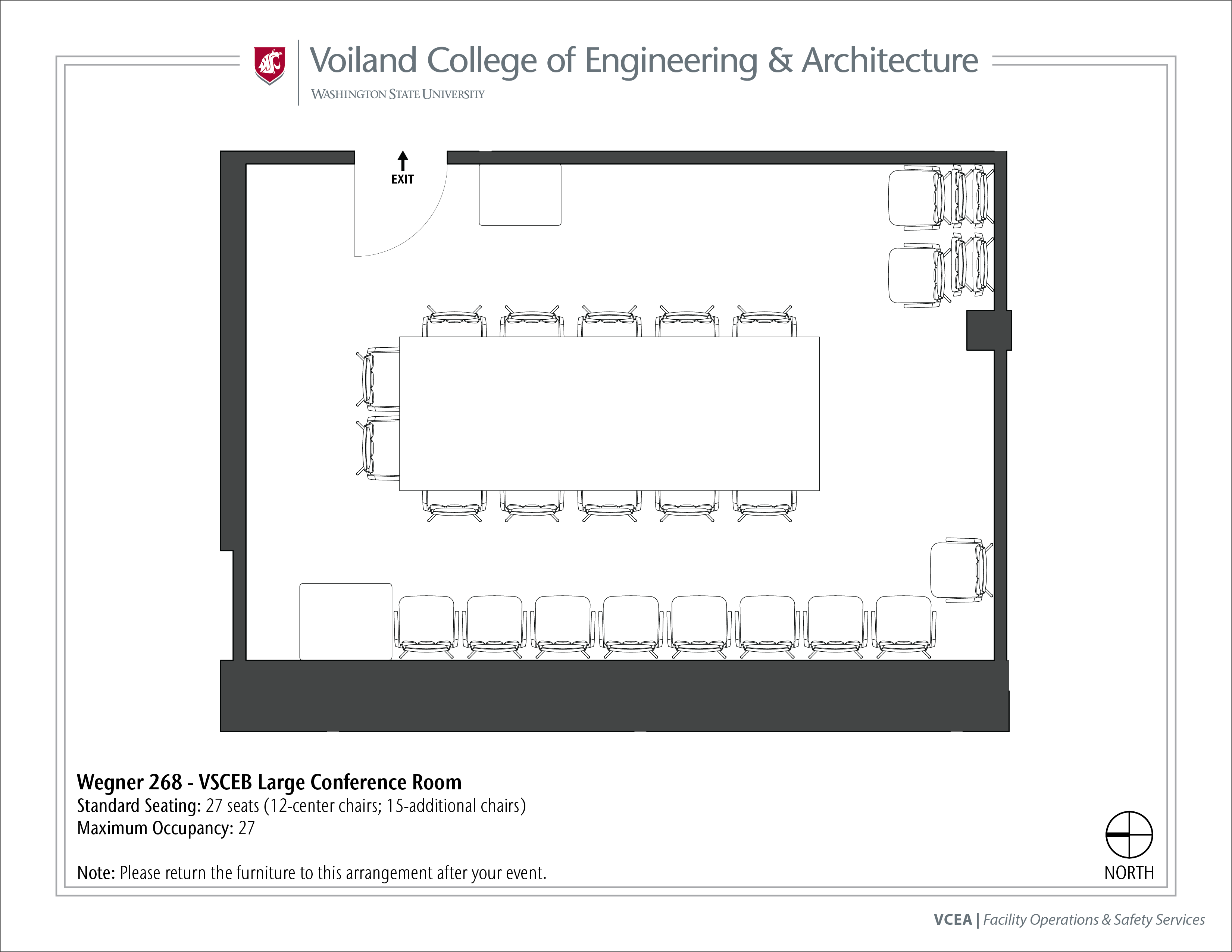 Layout of Wegner 268, VSCEB Large Conference Room, at WSU Pullman