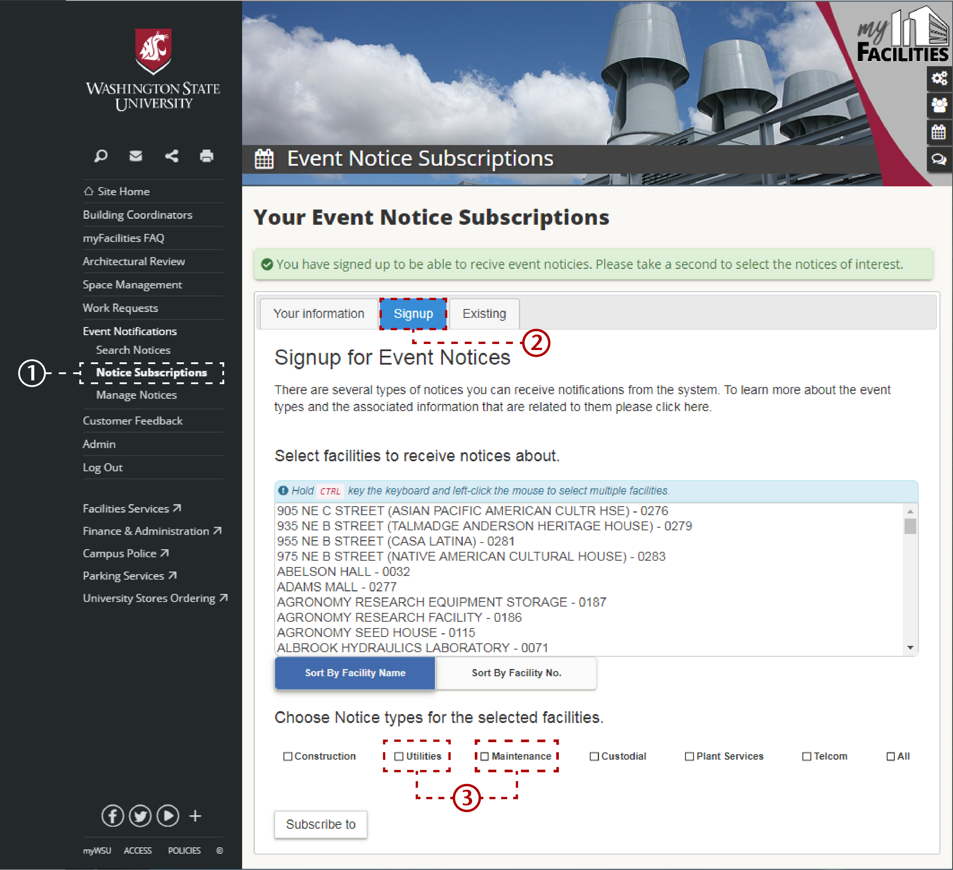 Screenshot of directions, detailed above, to sign up for event notices.