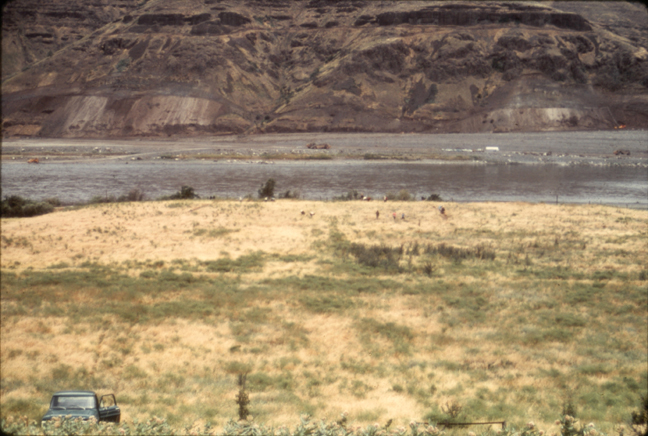 View of 45GA61 from the hill; 1969 before excavation (Source: 1969 Field Season Photo Archive). The Snake River is in the background.