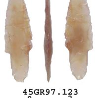 Daugherty's Projectile Point Style 1 has stemmed base for hafting.