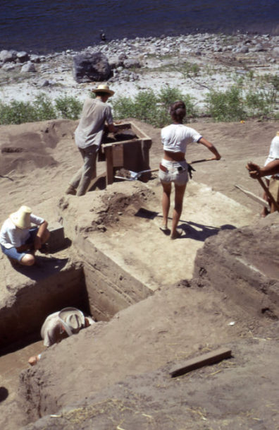 Area A, Excavation in Progress, 1967, showing students shoveling dirt into sifting screens and recording information