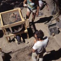 45WT41 Area B, Excavation in Progress, 1967, showing students screening dirt