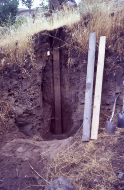Area A monolith shown in place in the wall of the unit before being removed, 1967