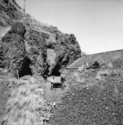 The entrance to Squirt Cave during 1964 Excavations.