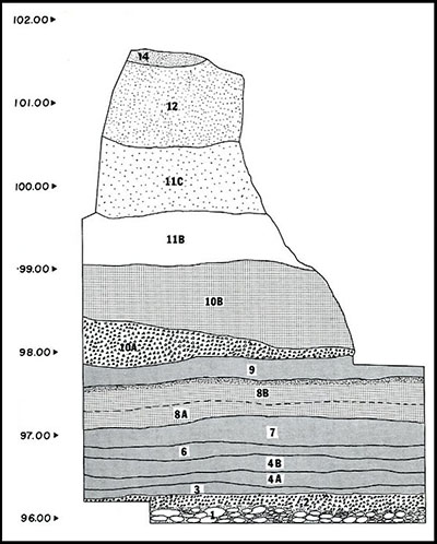 Stratigraphy of the Control Block, Area C, 1968 Excavation (Leonhardy 1970, Fig. 18)