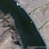 A satellite image showing the current location of the Granite Point site underwater in the Lower Granite Reservoir