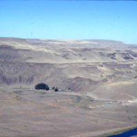 A view of the rockshelter and the floodplain from the bluff across the Palouse River, showing the basalt bluffs above the rockshelter August 1968