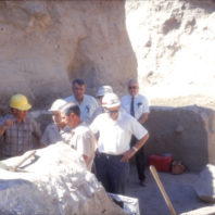 Roald Fryxell and Richard Daugherty showing the excavation units to personnel from the U.S. Army Corps of Engineers. August 1968