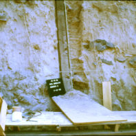 Fryxell prepared this soil monolith, cut from the sidewall of an excavation unit and permeated with epoxy resin, providing a permanent record of the soil stratigraphy, July 1968