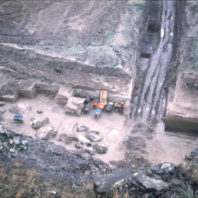 This view of the trenches from above shows the accumulation of water at the bottoms after a heavy rain in November of 1968