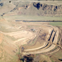 This view from above the floodplain shows the outline of where the coffer dam would be constructed, November 1968