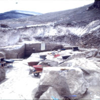 Archaeological excavation continued in the trenches on the floodplain, even in the cold and snow of December 1968.