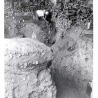 An archaeologist, possible Richard Daugherty, tagging geologic strata inside an excavation unit at the Marmes Rockshelter, 1962