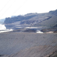 A view of the coffer dam built to keep the reservoir away from the Marmes Rockshelter and the floodplain in front of it, February 1969;