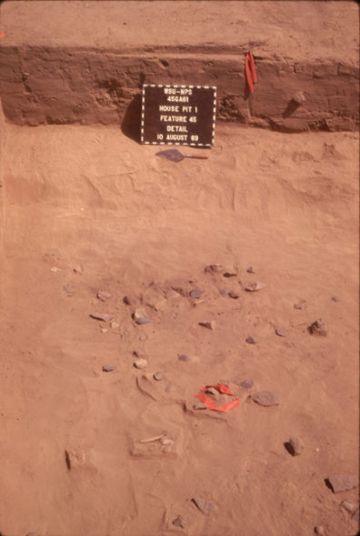Detail of Feature 45, a possible hearth, August 1969