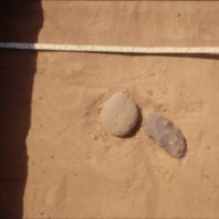 Two types of stone tools in Feature 8-70, August 1970