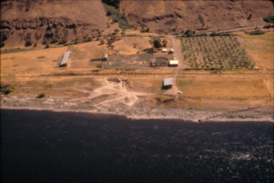 Aerial view of the site from the north with Snake River in the foreground, August 1968