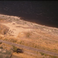Aerial view of the site from the south with Snake River in the background, August 1968