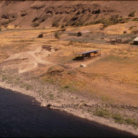 Aerial view of the site with Snake River in the foreground, August 1968