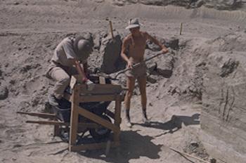Loomis and Miller excavating 1951