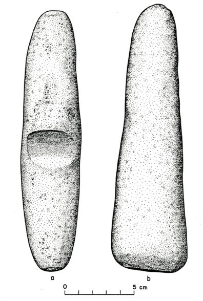 Ground Stone artifacts from Squirt Cave (45WW25) a) digging stick handle; b) pestle (source: Endacott 1992:49, Figure 11; illustration by Sarah Moore).