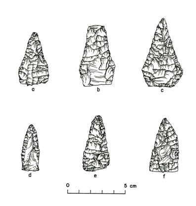 Knives from Squirt Cave (45WW25): a-c) bifacially flaked, pentagonal knives with a straight base; d) unifacially flaked, lanceolate; e and f) bifacially flaked, triangular, and asymmetrical (source: Endacott 1992:63-65, Figure 14; illustration by Sarah Moore).
