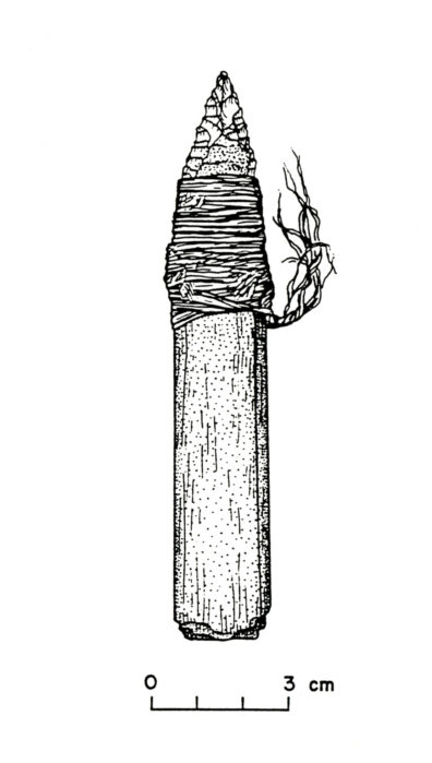 Hafted Knife from Squirt Cave (45WW25) (source: Endacott 1992:66, Figure 15; illustration by Sarah Moore).