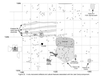 Artifacts recovered in situ and cultural features associated with the Late Camp component (Nakonechny 1998, Figure 22)