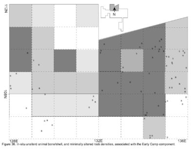 Unaltered animal bone and shell and minimally altered rock densities associated with the Early Camp component (Nakonechny 1998 Figure 36)