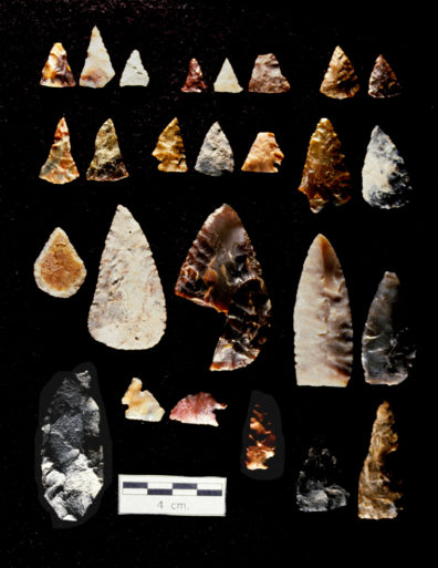 Projectile point preforms and knives. A. 02-01A Triangular preforms, variety 1; B. 02-01B Triangular preforms, variety 2; C. 02-02A Near-triangular preforms, variety 1; D. 02-02B Near-triangular preforms, variety 2; E. 02-03A Notched preforms; F. 03-01A Small, near-triangular knives; G. 03-02A Small, tear-shaped knives; H. 03-03A Large, tear-shaped knives; I. 03-04A Large, flat-based knives; J. 03-05A Cascade-style knives; K. 03-06A Hafted knives from projectile point blanks; L. 03-07A Scalpel-like knives with haft elements; M. 03-08A Plateau pentagonal knives (Source: Nakonechny 1998:Figure 79).