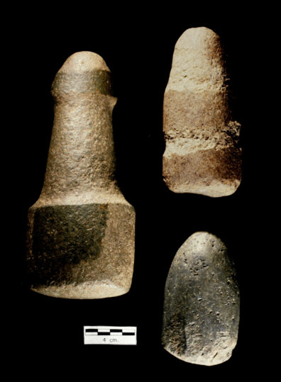 Pestles and mauls. A. 10-04A Mauls; B. 10-02A Pestle with pecked rings; C. 10-01B Cobble pestle, variety 2 (Source: Nakonechny 1998:Figure 82).