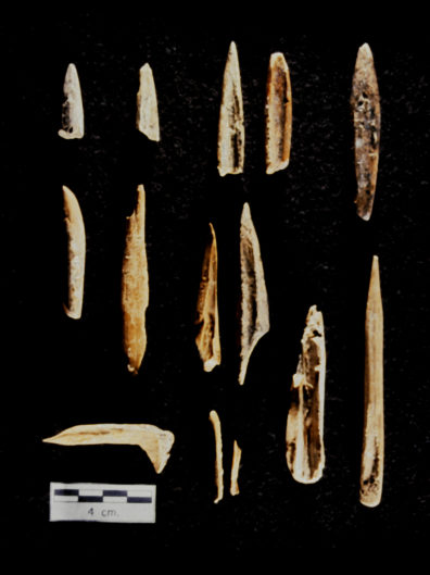 Bone points and awl / perforators. A. 20-01A Bone points, variety 1; B. 20-01B Bone points, variety 2; C. 20-01C Bone points, variety 3; D. 20-02A Bone bi-points, variety 1; E. 20-02B Bone bi-points, variety 2; F. 21-01A Awl/perforator; G. 21-02A Splinter awl/perforator, variety 1; H. 21-03A Scapular awl/perforator; I. 21-02C Splinter awl/perforator, variety 3; J. 21-02B Splinter awl/perforator, variety 2 (Source: Nakonechny 1998:Figure 85).